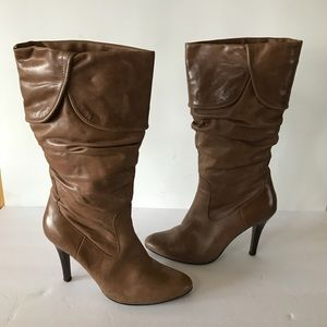 Aldo Grabme Taupe Leather Mid Calf Boots 37